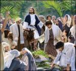 Jesus zieht in Jerusalem ein.