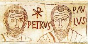 Petrus und Paulus. Katakombenbild 400 n. Chr.