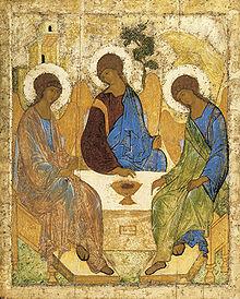 Gott besucht zu dritt Abraham. Bild von Andrei Rubljow (etwa 1411)