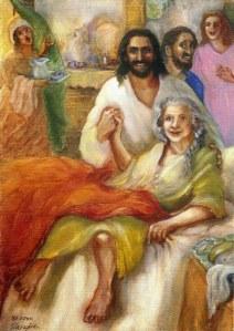 Jesus heilt die Schwiegermutter des Petrus