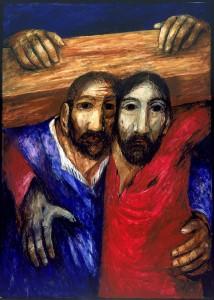Simon von Cyrene hilft Jesus das Kreuz tragen. 5. Kreuzwegstation. Bild von Sieger Köder