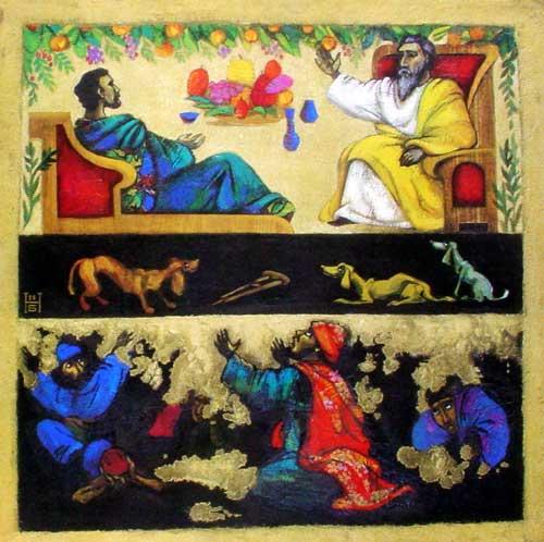 Abraham und Lazarus im Himmel und der reiche Mann im Schattenreich der Unterwelt